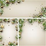 Backgrounds with fir branches and Christmas balls. Backgrounds set with fir branches, gold Christmas balls, stars and snow. Vector illustration.r Stock Photos