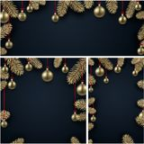 Backgrounds with fir branches and Christmas balls. Black backgrounds set with fir branches and gold Christmas balls. Vector illustration Royalty Free Stock Photos