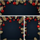 Backgrounds with fir branches and Christmas balls. Black backgrounds set with fir branches, red Christmas balls and stars. Vector illustration.r Royalty Free Stock Photos