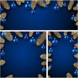 Backgrounds with fir branches and Christmas balls. Blue backgrounds set with fir branches and Christmas balls. Vector illustration Stock Photography