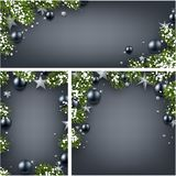 Backgrounds with fir branches and Christmas balls. Grey backgrounds set with fir branches, Christmas balls, stars and snow. Vector illustration.r Royalty Free Stock Photography