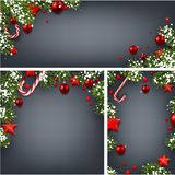 Backgrounds with fir branches and Christmas balls. Grey backgrounds set with fir branches, red Christmas balls, stars and candy. Vector illustration.r Royalty Free Stock Images