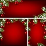 Backgrounds with fir branches and Christmas balls. Red backgrounds set with fir branches, Christmas balls and snow. Vector illustration Stock Images