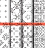 Backgrounds Floral Forged Hand Drawn. Floral backgrounds set. Forged seamless patterns. Elegant ornament for damask wallpaper, fabric, paper, invitation print Stock Photography