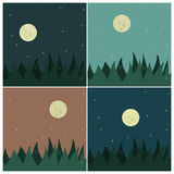 Backgrounds with full moon. Set of backgrounds with full moon Stock Photo
