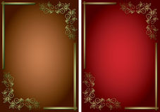 Backgrounds with golden decorative frames - vector. Vector backgrounds with golden decorative frames stock illustration