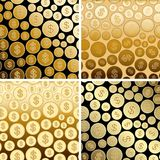 Backgrounds with golden dollars - gold vector gradient coins. Backgrounds with golden dollars - gold  vector gradient coins Stock Photos