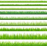 Backgrounds Of Green Grass. 9 Backgrounds Of Green Grass, Isolated On White Background Royalty Free Stock Image