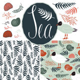 Backgrounds with gulls and ferns. Sea set. Backgrounds with gulls and ferns. Sea and nature set Stock Image