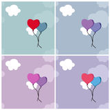 Backgrounds with heart balloons and clouds. Set of backgrounds with heart balloons and clouds Stock Photos
