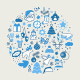 Backgrounds with icons - New Year, Christmas, winter Stock Image