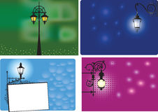 Backgrounds With Lanterns. 4 colored backgrounds with lanterns and space for the text Stock Photo