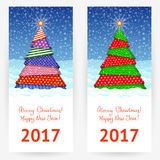 Backgrounds for New Year and Christmas congratulations. Festive backgrounds with Christmas trees for New Year and Christmas congratulations. Vertical banners Royalty Free Stock Photo