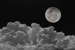 Backgrounds night sky of the moon with clouds. Stock Images