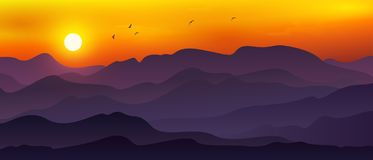 Free Backgrounds Of Mountains And Abstract Hills With A Blend Of Orange, Yellow And Dark Purple. Panoramic Background With Hills, Stock Photos - 155320553