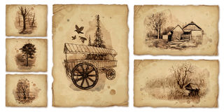 Backgrounds with pencil drawings Royalty Free Stock Photography