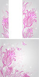 Backgrounds with pink hand drawn tulips Royalty Free Stock Image