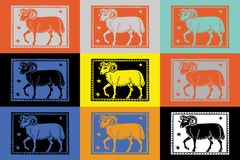 Backgrounds pop art colofull patterns. Tom slaugter style zodiac sign and pop art girls Royalty Free Stock Images