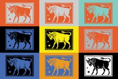 Backgrounds pop art colofull patterns. Tom slaugter style zodiac sign and pop art girls Stock Image
