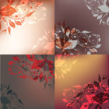 Backgrounds set. Set of 4 classic floral shining backgrounds Stock Photography