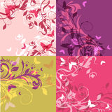 Backgrounds set. Set of 4 classic floral multicolored decorative backgrounds Stock Photos