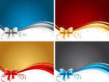 Backgrounds set with bows Stock Photography