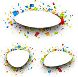 Backgrounds set with confetti. Set of White backgrounds with color confetti. Vector paper illustration Stock Photography