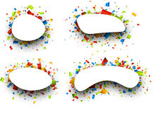 Backgrounds set with confetti. Set of White backgrounds with color confetti. Vector paper illustration Stock Image