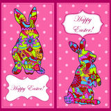 Backgrounds set with easter rabbit Stock Images