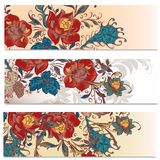 Backgrounds set in floral style Royalty Free Stock Image