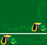 Backgrounds for St. Patricks Day. Vector Background and banner of pot with gold coins,  horseshoe and leprechaun hat with clover for St. Patricks Day Stock Photo