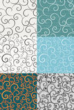 Backgrounds with swirls. Set of seamless vector backgrounds with swirls Royalty Free Stock Photos