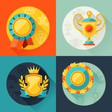 Backgrounds with trophy and awards in flat design Royalty Free Stock Photos
