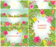 Backgrounds with tropical ornament for summer holidays [Converted] Stock Images