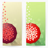 Backgrounds with umbrellas and hearts Royalty Free Stock Images
