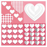 Backgrounds Vector set set Valentine heart  of seamless patterns. Ge Stock Photos