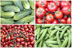 Backgrounds vegetables tomatoes, cucumbers and peas Royalty Free Stock Photography
