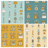 Backgrounds with Vintage Telephones and Lamps Royalty Free Stock Image