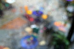 The backgrounds with water drops on the glass window. Royalty Free Stock Photo