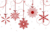 Backgrounf with red snowflakes and circles Royalty Free Stock Images
