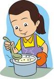 backgroung μαγείρεμα που απομονώνεται πέρα από τη λευκή γυναίκα Στοκ Εικόνα