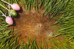 Backgroung счастливых eags пасхи искусственных деревянное Стоковое фото RF