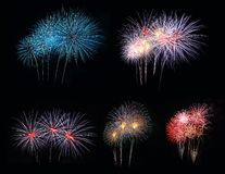 Backgroung with fireworks set. Backgroung with fireworks display set Stock Photo