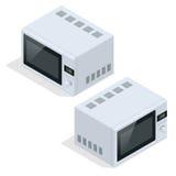 backgrpund简明设计图象查出微波炉可认识的简单的白色 烹调和加热的食物的厨房器具 平的3d传染媒介等量例证 向量例证