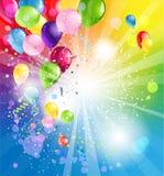Backgrund del día de fiesta con los globos Foto de archivo