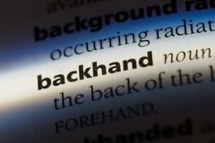Backhand. Word in a dictionary.  concept Royalty Free Stock Photos