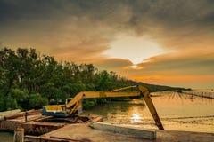 Backhoe выкапывает вдоль берега моря около мангровы для стоковое изображение