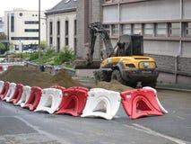 Backhoe и строительная площадка рута de Ла gare в Святом-Brieuc стоковая фотография rf