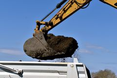Backhoe сбрасывает грязь в коробке тележки стоковые изображения rf