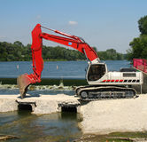 Backhoe. On water royalty free stock images